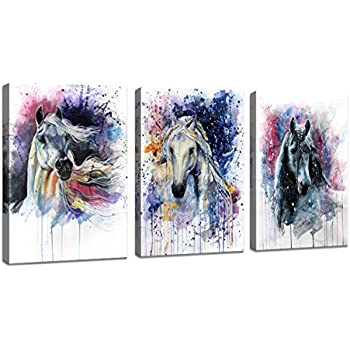 Amazon horse pictures painting canvas wall art decor for dzl art d70234 canvas wall art horse animal painting prints on canvas framed ready to hang 3 panels watercolor horses prints fine art for home wall decor gumiabroncs Image collections