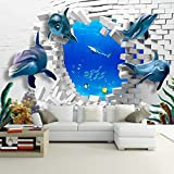 LWCX Custom 3D Cartoon Underwater World Dolphin Broken Wall Photo Mural Creativity Kid'S Room Decor 380X260CM