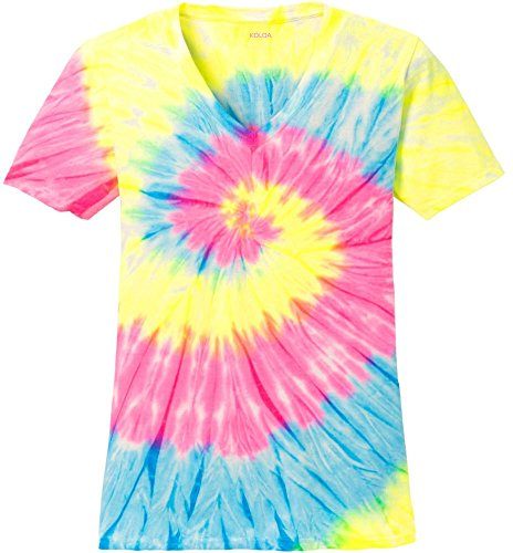Joe's USA Koloa Surf Ladies Colorful Tie-Dye V-Neck T-Shirt-Neon-S
