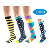 Compression Socks for Women & Men (3 Pairs), Tutuko Graduated Compression Sock 20-25 mmHg for Running, Flight, Travel, Nurses, Edema, Best Performance Recovery Circulation Stamina