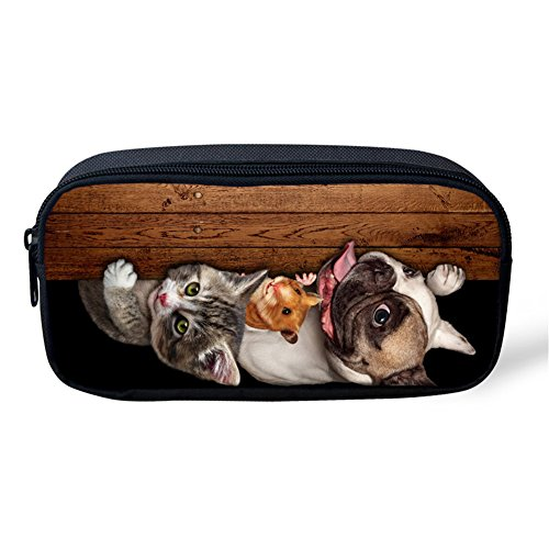 Showcool School Students Pencil Case Holder Cool 3D cats dogs mice boards Pattern Supplies Pen Bag Pouch Polyester cute for School Teens boys girls -