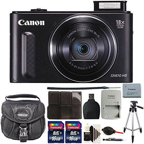 Canon PowerShot SX610 HS 20.2MP Wifi / NFC Enabled 18X Optical Zoom Point and Shoot Digital Camera with 32GB Bundle