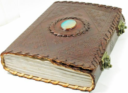 Handmade Paper 6×8 Embossed Leather Center Stone Journal with Two Brass Latches
