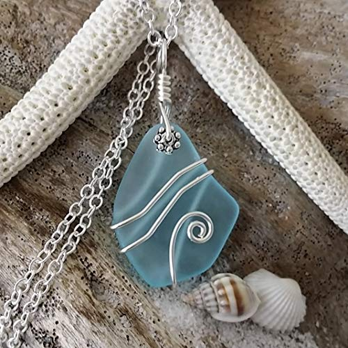 Handmade sea glass jewelry from Hawaii, Wire wrapped blue sea glass necklace, (Hawaii Gift Wrapped, Customizable Gift Message)