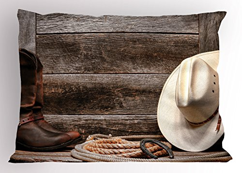 Western Pillow Sham by Lunarable, Americana Rodeo Fashion White Straw Hat Original Lariat Lasso and on a Barn, Decorative Standard Size Printed Pillowcase, 26 X 20 Inches, Tortilla Brown