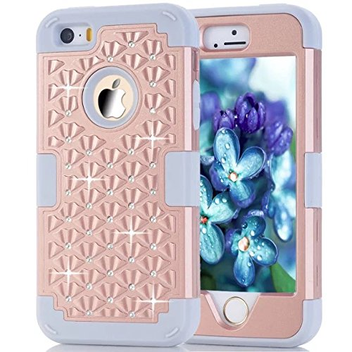 IPhone 5S Coque,IPhone 5 Coque,Iphone SE Coque,Lantier [Hard Coque Doux dur] concepteur Crystal Bling Hybrid Cover Coque Armure pour Apple Iphone 5/5S/SE Rose Gold + Gris