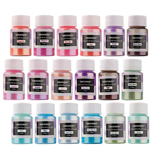 NODDWAY Metallic Color Shift Pigment Powder 18 Colors Pearl Fine Mica Powder, Epoxy Resin Dye for Resin Jewelry Art, Tumbler Making,DIY Slime