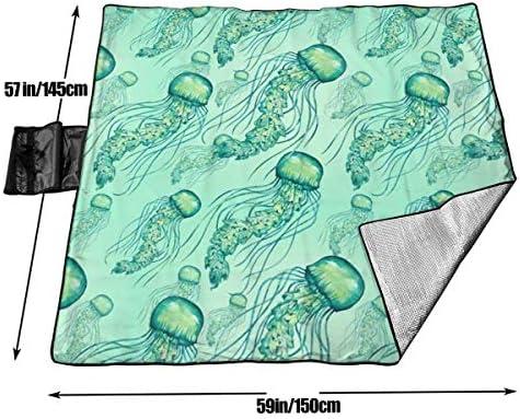 Singledog Coperta da Picnic Acquerello Modello di Meduse Coperte da Picnic Tappetino da Spiaggia Portatile Impermeabile 145X150 cm