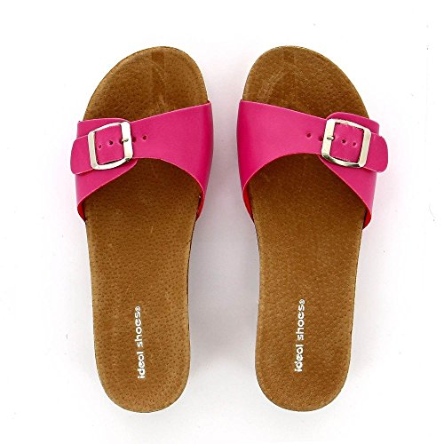 Ideal Shoes–Sandale mit Sohle aus Radierer Nelia Rot - Fuchsia