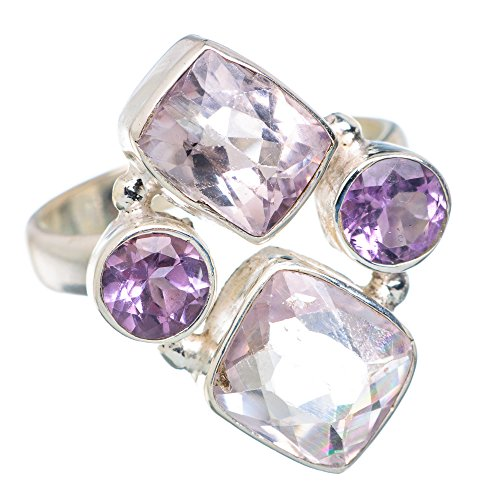 Faceted Kunzite, Amethyst Ring Size 6.5 (925 Sterling Silver) - Handmade Jewelry (Amethyst Kunzite Ring)