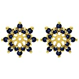 1/2 ct. Diamonds (G-H,I1-I2) and Sapphire Genuine Sapphire and Diamond Cluster Style Earring Jacket in 14k Yellow Gold (0.48 ct. twt.)