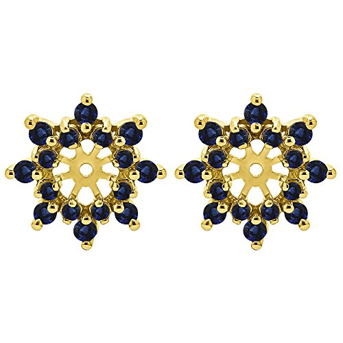 1/2 ct. Sapphire Genuine Sapphire Cluster Style Earring Jacket in 14k Yellow Gold (0.48 ct. twt.)