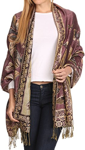 Sakkas 16126 - Liua Long Wide Woven Patterned Design Multi Colored Pashmina Shawl / Scarf - Pink - OS