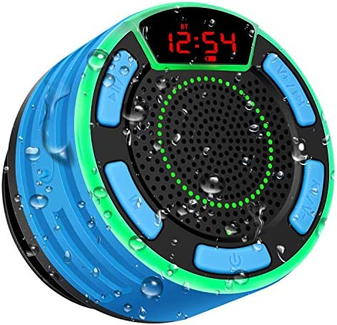 Bluetooth Audio system, BassPal IPX7 Waterproof Transportable Wi-fi Bathe Speaker with LED Show, FM Radio, Suction Cup, Mild Present, TWS, Loud Stereo Sound for Pool Seaside Dwelling Social gathering Journey Open air