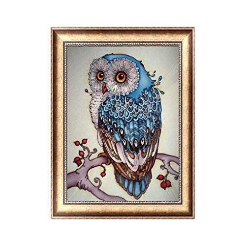 Owl 2 Embroidery (JUA PORROR DIY 5D Owl Animal Diamond Embroidery Painting Cross Stitch Craft Home Decor Kit)