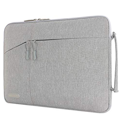 MOSISO Laptop Briefcase Handbag Compatible 13-13.3 Inch MacBook Air, MacBook Pro, Notebook Computer Polyester Protective Sleeve Case Carrying Bag with Accessory Pockets, Gray