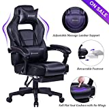 VON RACER Massage Reclining Gaming Chair - Ergonomic High-Back Racing Computer Desk Office Chair with Retractable Footrest and Adjustable Lumbar Cushion (Black)