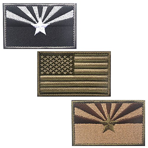 Bundle 3 Pieces - Tactical USA State Flag Patches - Multi-co