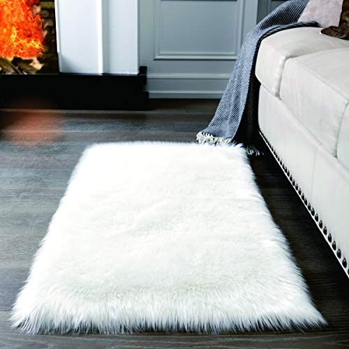 Super Soft White Fluffy Rug Faux Fur Area Rug, Fur Rugs for Bedroom, Fuzzy Carpet for Living Room, 2x4 Feet, AILISI (Soft Rug White Super)