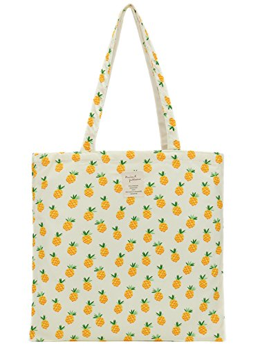 Women's Canvas Tote Shoulder Bag Stylish Shopping Casual Bag Foldaway Travel Bag (Bag-Pineapple) Canvas Shoulder Tote Bag