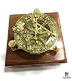 NM034815B Solid Brass Sundial Compass 4.5'' In Wooden Box Case Pack of 16