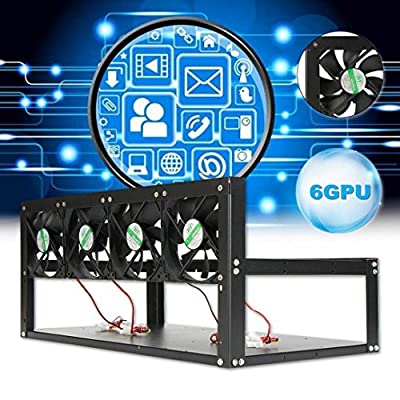NXDA Open Air Mining Rig Case with 4 Pcs 120mm Cases fans, Miner Frame Set for 6 GPU ETH BTC Ethereum Crypto Coin