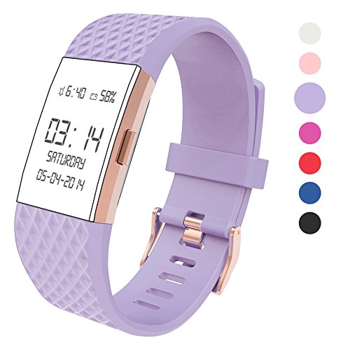 Wearlizer Compatible with Charge 2 Bands Accessories Silicone Strap Replacement Charge 2 Special Edition Lavender Rose Gold Buckle Purple