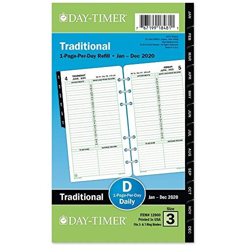 Day-Timer 2020 Daily Planner Refill, One Page Per Day, 3-3/4