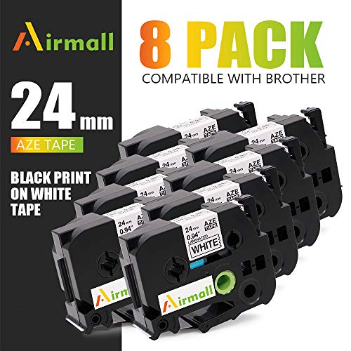 Airmall 8 Pack Compatible TZe-251 24mm 1 Inch, Black on White Laminated Label Tape Work with P-Touch Label Maker PT-D600 PT-D600VP PT-P700 PT-P750W 0.94 inch (24mm) X 26.2 feet (8m)