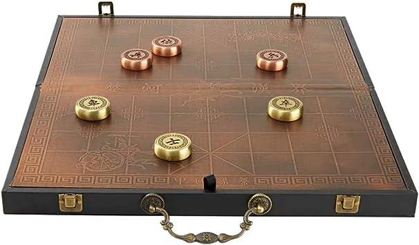 GZ Juego de Mesa Chino Xiangqi Juego de ajedrez de latón, Hecho, con el Tablero Plegable y la Caja de Cuero, la Estrategia educativa Juegos de Mesa clásicos for 2 Jugadores: Amazon.es: