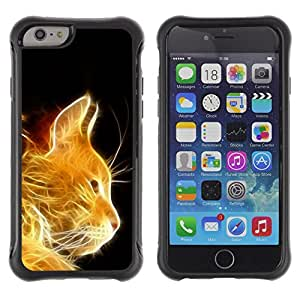 iKiki Tech / Estuche rígido - Cat Fire Ginger Orange Portrait Flames Furry - Apple iPhone 6