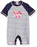 Little Me Children's Apparel Baby and Toddler Girls UPF 50+ Short Sleeve Rashguard Suit, Navy Stripe, 12 Months
