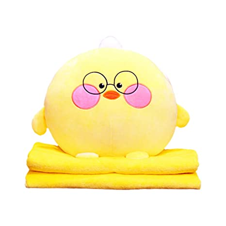 Chick Segreto 3 in 1 Cue Fruit Plush Stuffed Toys Throw Pillow with Folded Blanket Set and Hand Warmer for Travel Nap