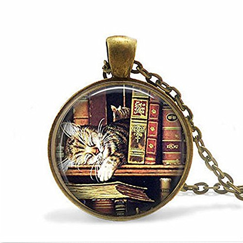 Vintage books and cat Keychain,Book lover Keychain, books and cat Keychain,Unique Key Ring Customized (Public Domain Vintage Halloween)