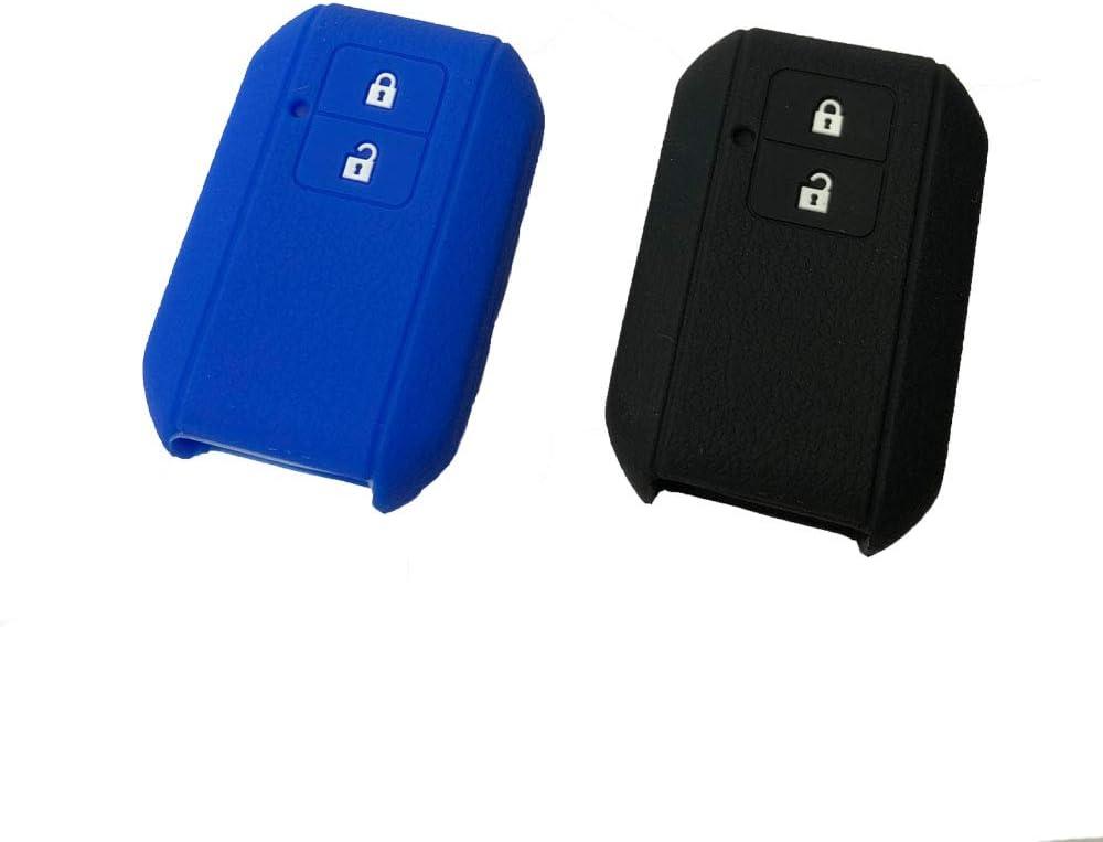 【2個入れ】スズキ車用 スマートキーシリコンカバー 2ボタン車リモートキー ケース 新型スイフト/新型ワゴンR/新型ワゴンRスティングレー/クロスビー(XBEE) など 専用設計 (ブラック+ブルー)