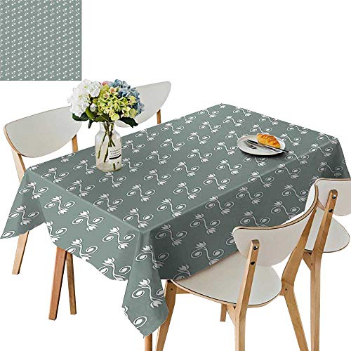 UHOO2018 Printed Fabric Tablecloth Square/Rectangle Tulip Flowers on Curly Branches Spiral Concept Design Feminine Light Sage Green White Wedding Party Restaurant,52 x 108inch