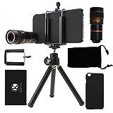 CamKix Camera Lens Kit Bundle of 8X Telephoto Lens, Tripod, Phone Holder, Hard Case, Velvet Bag and Microfiber Cleaning Cloth for iPhone 6 / 6S - Black