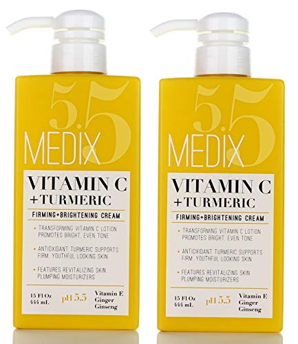 Medix 5.5 Vitamin C Cream w/Turmeric for face and body. Firming & brightening cream for age spots, dark spots & sun damaged skin. Anti-Aging Cream Infused w/Vitamin E, Ginger, Ginseng. (Two - 15oz)