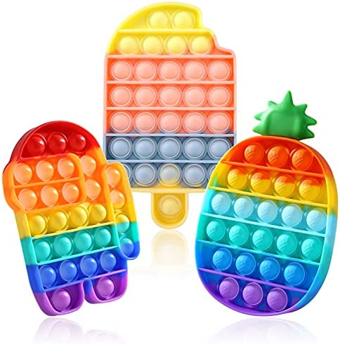GOHEYI Push Pop Fidget Toy 3 Pack, Silicone Stress...