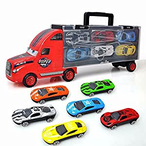 Pull Back Car Toy Truck Transport Car Carrier Toy for Boys and Girls Age 3-10 yrs Old - Hauler Truck Includes 6 Toy Cars Die Cast Car Toy Play Set Gift for Kids