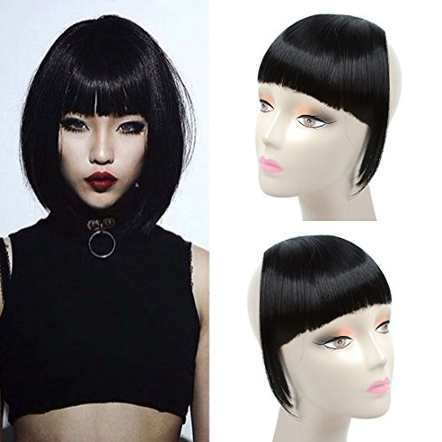 Liyate New Fashion Straight Hair Bangs Fringe Clip in Hair Extensions 1 piece (2 clips) Synthetic Hair (clip bangs, Jet Black)