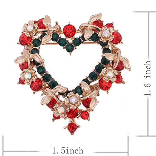 menoa Flower Wreath Brooch Pin Love Heart Style Delicate Rhinestone Gold Plated Cocktail Proms Gift