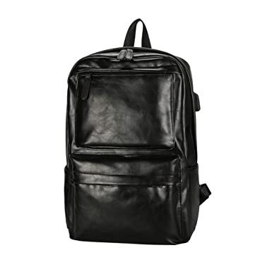 021ec6316d61 Men s Backpacks Pu Leather Male School Bags For Teens Laptop Man Travel  Backpack Usb Charge Fashion
