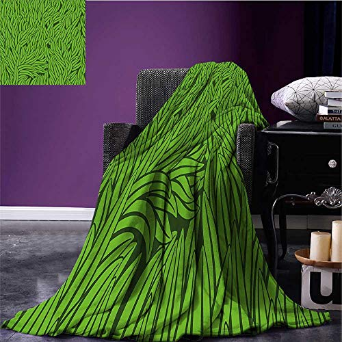sunsunshine Green Throw Blanket Hand Drawn Style Grass Pattern Abstract Simplistic Environmental Growth Eco Coverlet Lime Green Emerald Bed or Couch 60