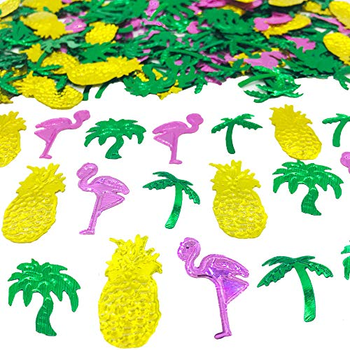 Summer Confetti Palm Tree Coconut Tree Flamingo Pineapple Fruit Sequins Party Table Decoration for Tropical Luau Hawaiian Jungle Beach Wedding Theme Island Party(1.5Ounce,1100Pieces) -