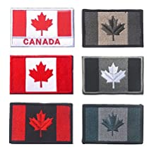 Canada Flag Tactical Patch, TOWEE 6 Pack CA Flag Velcro Patches Tactical Tags Patch Military Patch Embroidered Border Canada Military Uniform Emblem Velcro Morale Patches