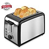 2 Slice Toaster, TOBOX Premium Brushed Stainless Steel 2-Slice Toaster with...