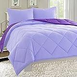 MattRest All Season Light Weight Down Alternative Reversible 2-Piece Comforter Set – Wrinkle & Fade Resistant- Twin/Twin XL, Lilac/Purple