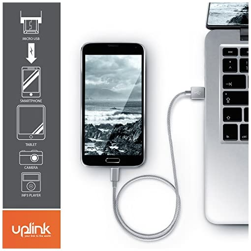 UpLink 3m Premium Micro USB to USB Cable Nylon Braided – Data,Sync Charging Cable – Aluminium plug – Compatible with Android Samsung HTC Motorola Nokia LG HP Sony BlackBerry