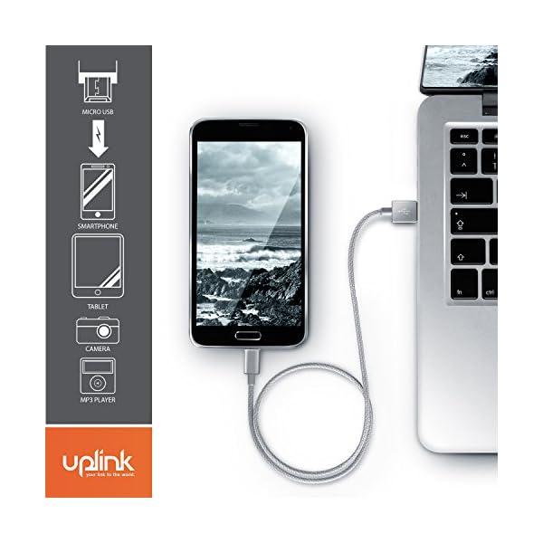 1m Premium Cable MicroUSB a USB de alta velocidad - Nylon trenzado - Cable cargador y de datos - Cable de carga rápida… 6